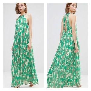 Anthropologie Adelyn Rae Green White Maxi Dress